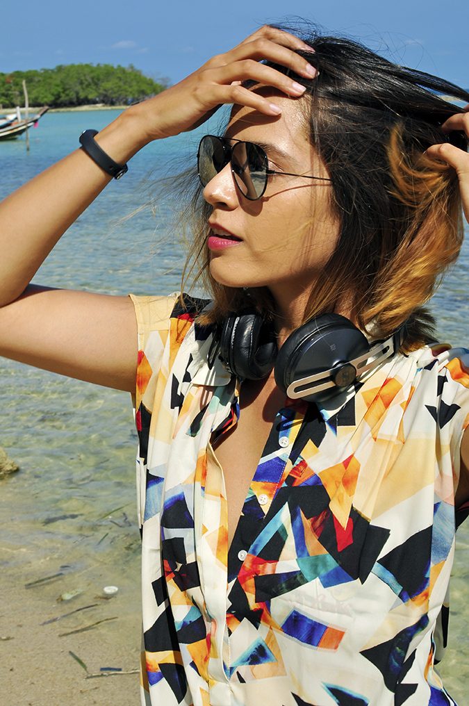 Koh Samui | Akanksha Redhu | half side headphones in neck