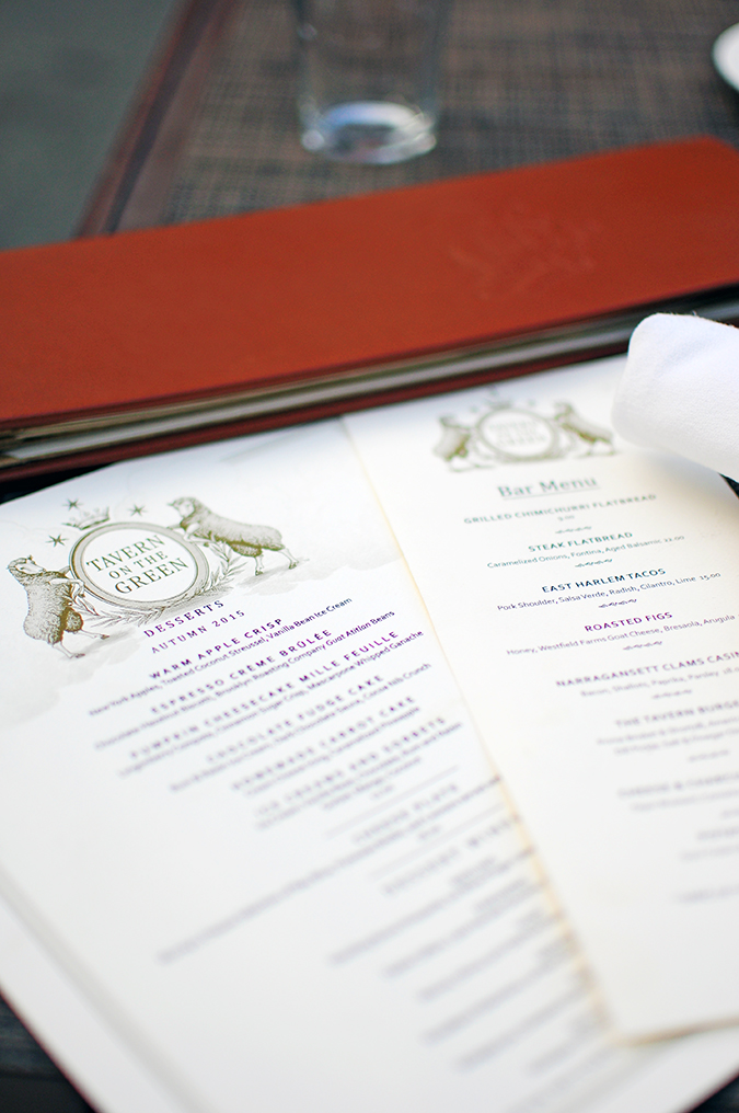 Tavern on the Green - Central Park | NYC | Akanksha Redhu | menu long