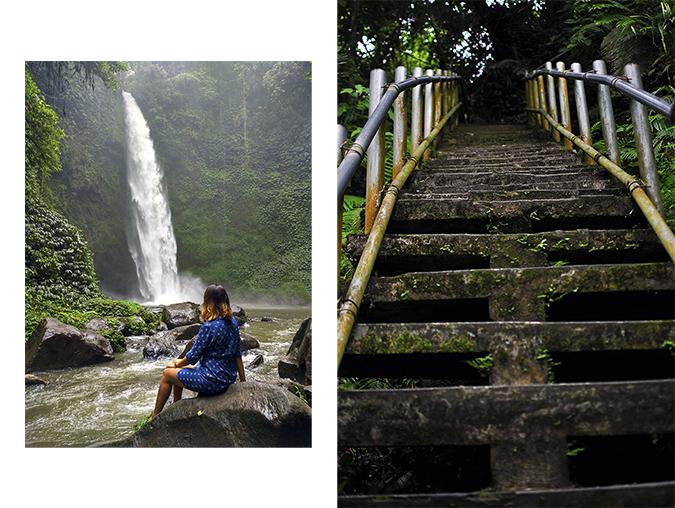 Nungnung Waterfall | Bali | Akanksha Redhu | combo sitting stairs