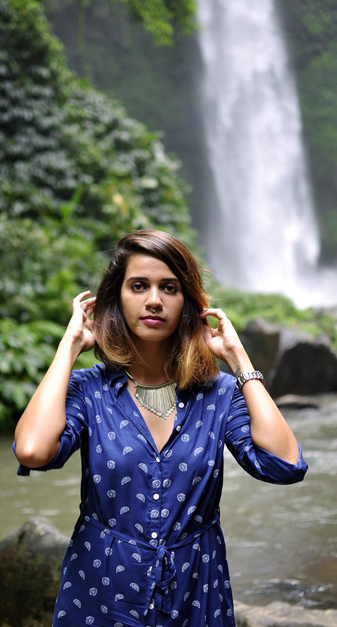 Nungnung Waterfall | Bali | Akanksha Redhu | half front waterfall