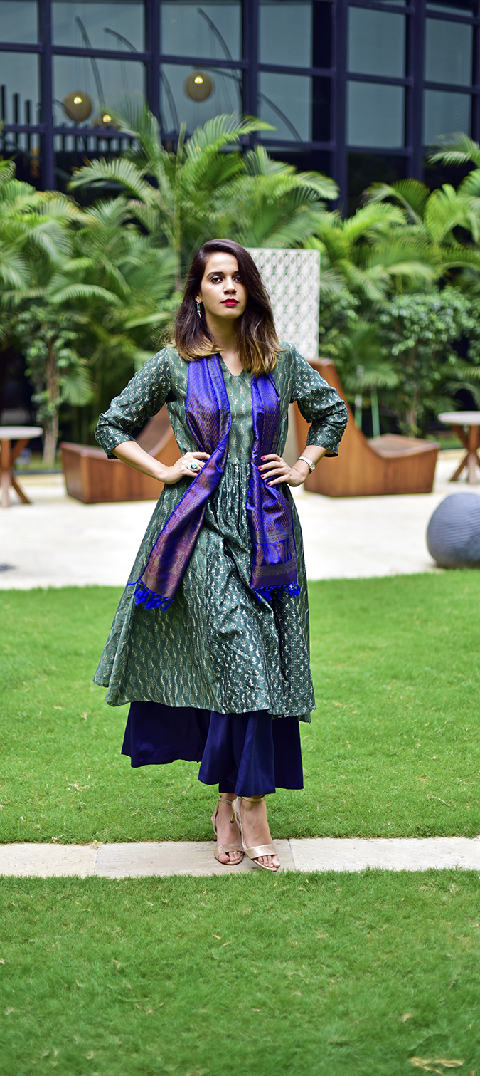 Amazon India Modern Festive | Akanksha Redhu | full front long both hands on waist