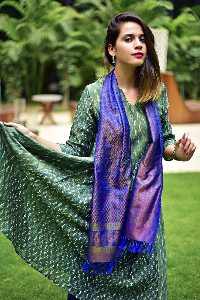 Amazon India Modern Festive | Akanksha Redhu | half front flaring one side of kurta