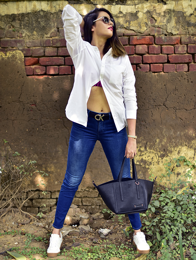 Calvin Klein | Akanksha Redhu | full front legs apart arm up tummy