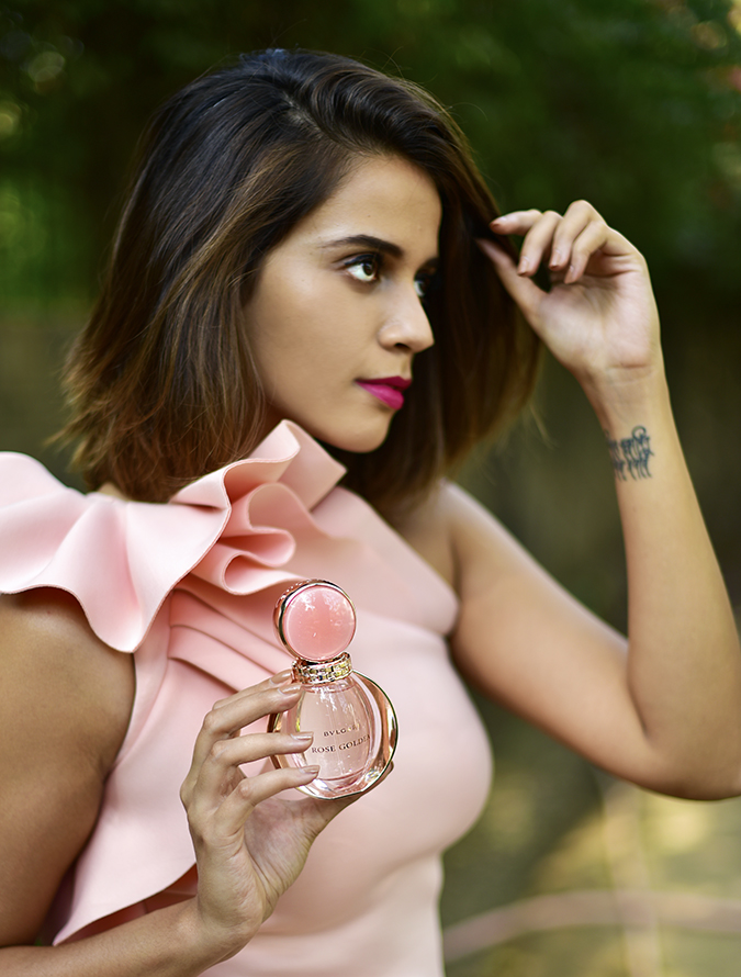 Bvlgari Rose Goldea | Akanksha Redhu | half side hand in hair bottle