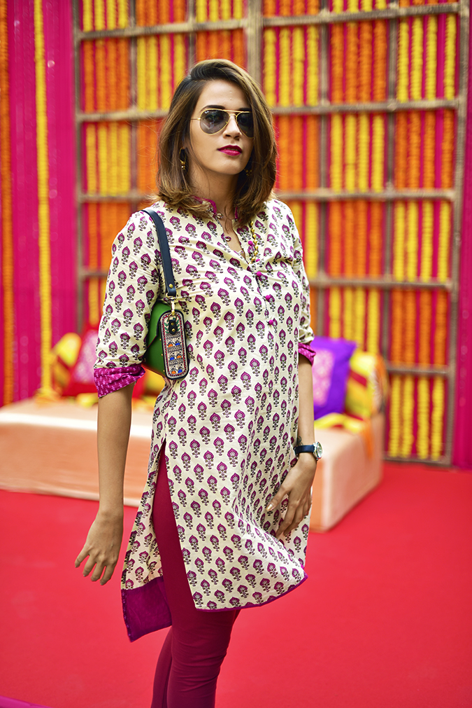 Myx | Amazon | Akanksha Redhu | half front side holding kurta down