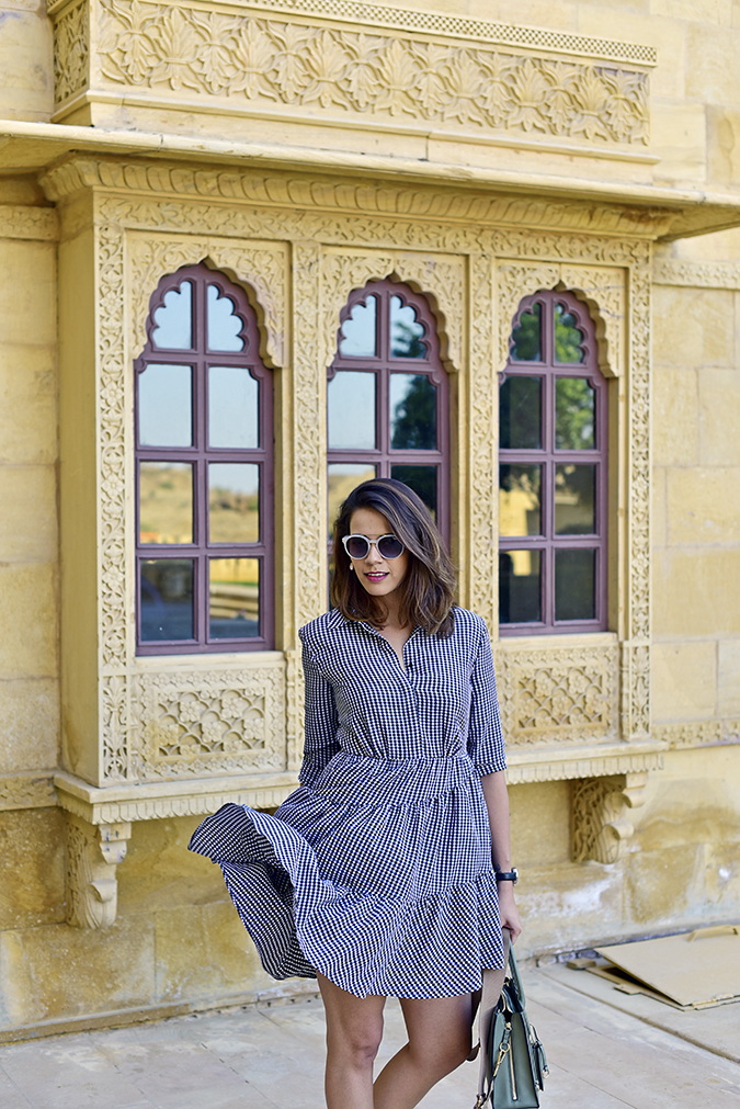 Suryagarh Jaisalmer | Akanksha Redhu | front half check dress fly
