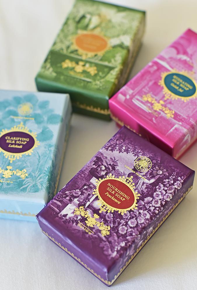 Forest Essentials | Akanksha Redhu | all 4 on bed focus on purple