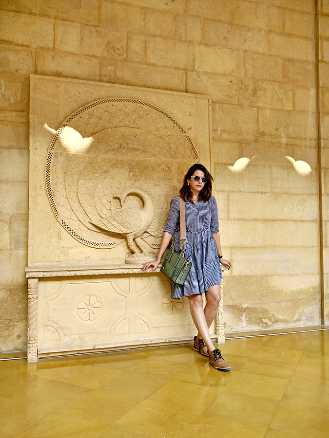 Suryagarh Jaisalmer | Akanksha Redhu | full front check dress against wall