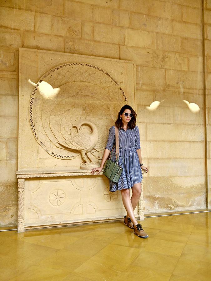 Suryagarh Jaisalmer | Akanksha Redhu | full front check dress against wall