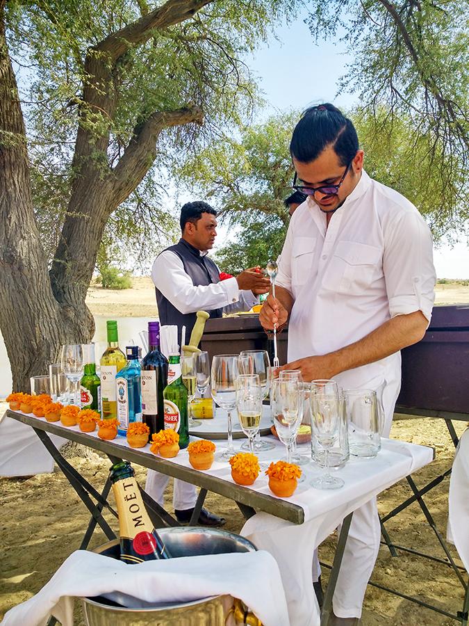 Suryagarh Jaisalmer | Akanksha Redhu | siddharth making cocktails