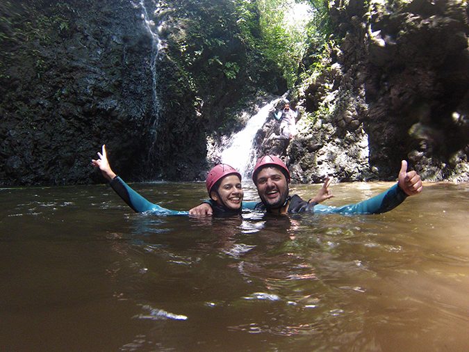 Canyoning in Bali | Akanksha Redhu | me and aman heads on water