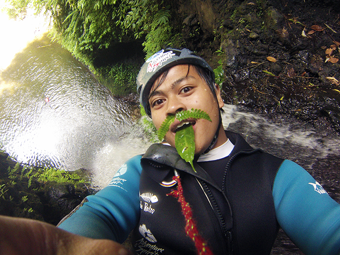 Canyoning in Bali | Akanksha Redhu | kadek leaves