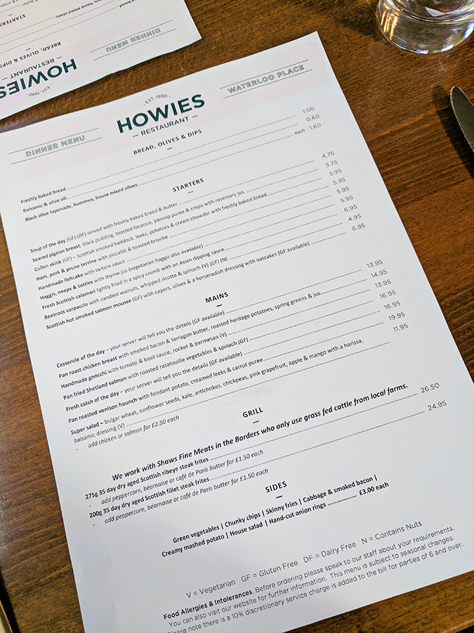Edinburgh | Akanksha Redhu | howies menu