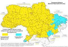 "Ukraine Rada Elections 2014: Blue - ""pro-Russians""; yellow = ""pro-Ukrainians"", by ?"