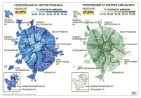 Moscow Mayoral Elections 2013: Sobyanin [blue] vs. Navalny [green]
