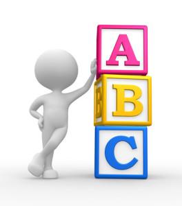 3d man with ABC cubes
