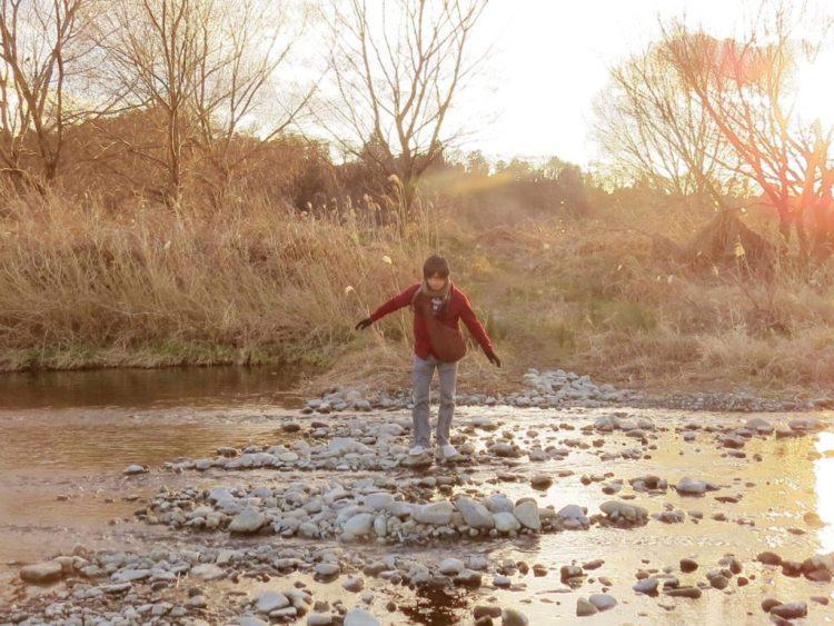 河原を渡る!