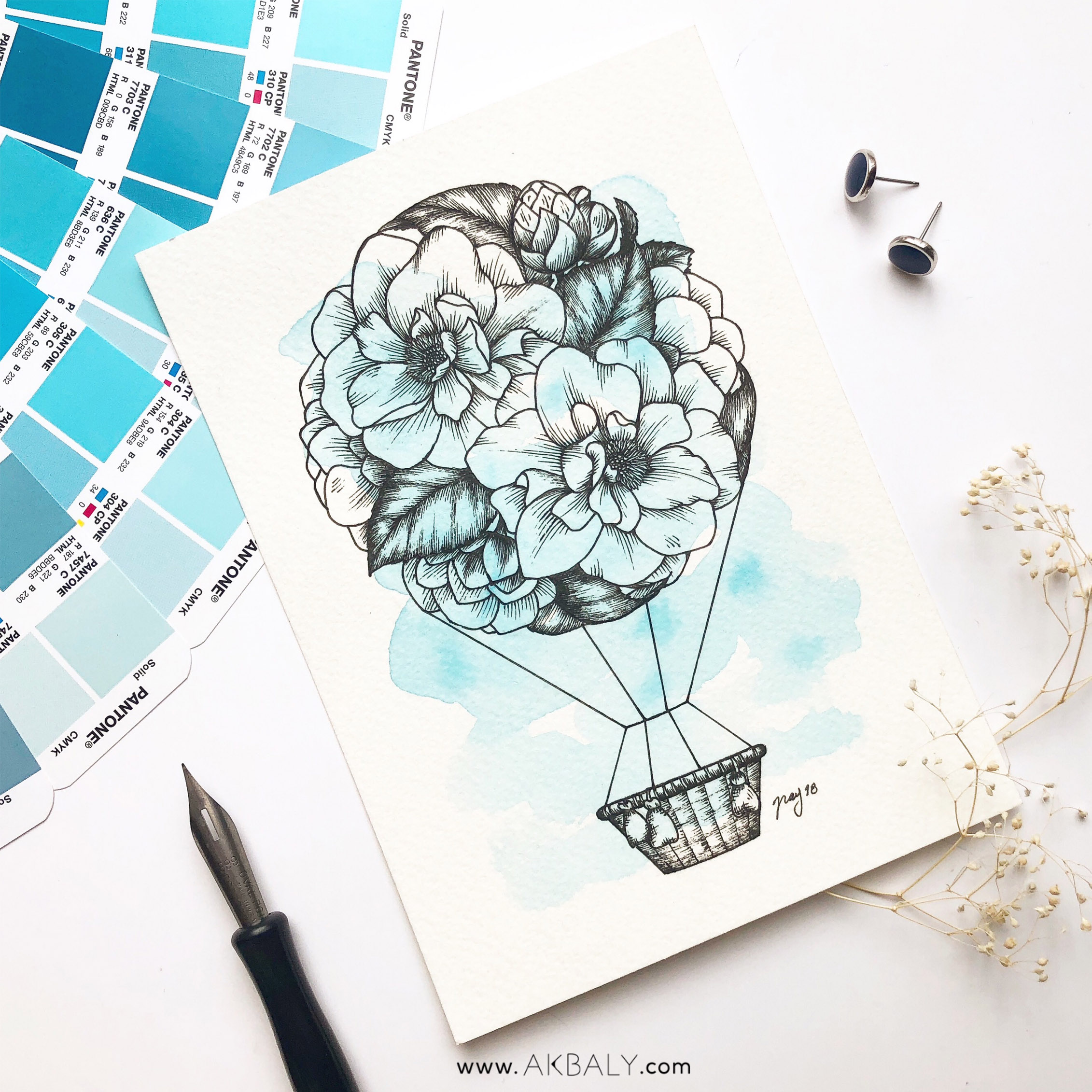 "Illustration ""Floral Hot Air Balloon"" by Akbaly Prints Postcards Ink Watercolor"