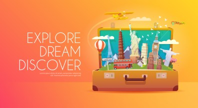 Trip to World. Travel to World. Vacation. Road trip. Tourism. Travel banner. Open suitcase with landmarks. Journey. Travelling illustration. Modern flat design.