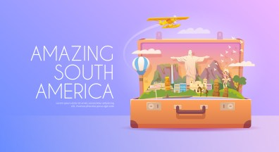 Trip to South America. Travel to South America. Vacation. Road trip. Tourism to South America. Travel banner. Open suitcase with landmarks. Travelling illustration. Wanderlust. Flat style. EPS 10