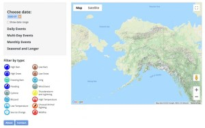 alaska weather and climate highlights tool screenshot