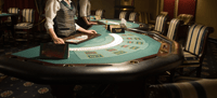 Dealing poker at a poker table