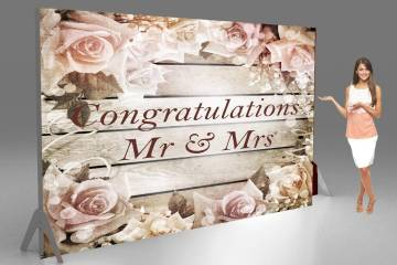 Congratulations fabric tension banner for weddings vintage