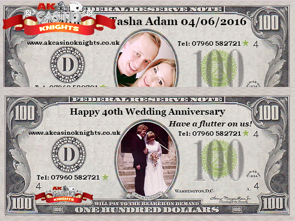 Wedding fun money with special date and picture