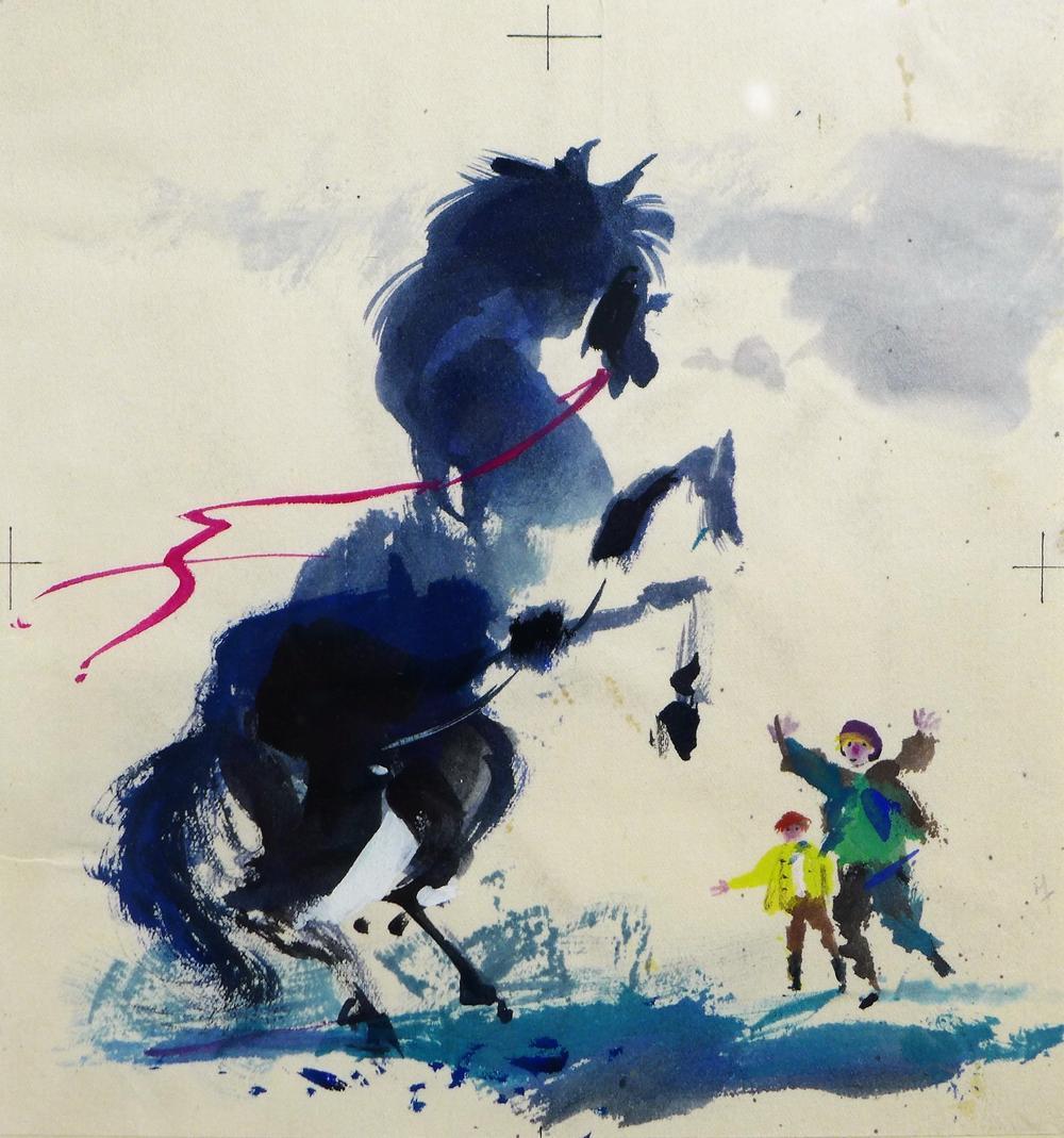 Illustration pour le poème sur le cheval meunier du livre