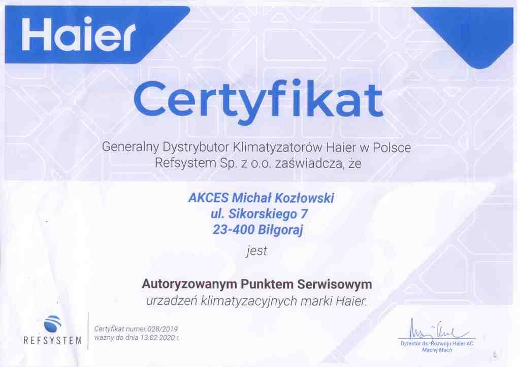 AKCES- Autoryzowany Punkt Serwisowy urządzeń klimatyzacyjnych marki Haier.