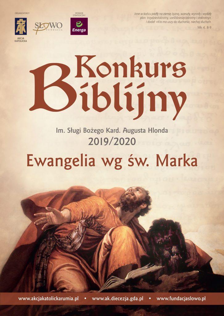 Plakat Konkurs Biblijny Ewangelia wg sw Marka 2019 ze spadami