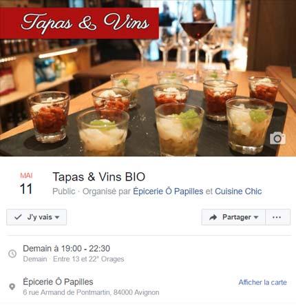 création événement Facebook pour l'épicerie Ô Papilles à Avignon