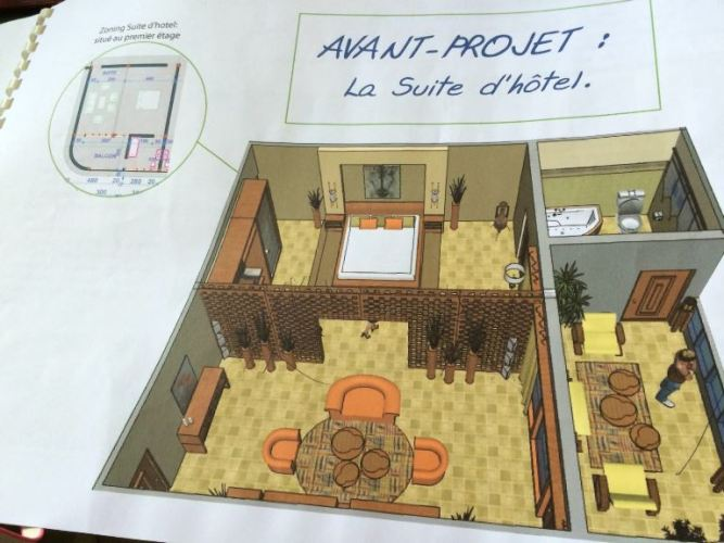 Plan d'une chambre d'hôtel