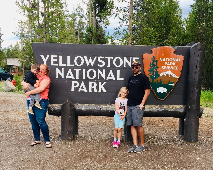 Yellowstone Trip Day One: Park Sign and Taco Dinner
