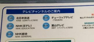 ホテルクラウンヒルズ高岡テレビチャンネル