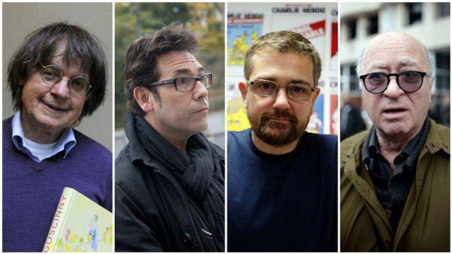 a meggyilkolt karikaturisták: Cabu, Tignous, Charb et Wolinski