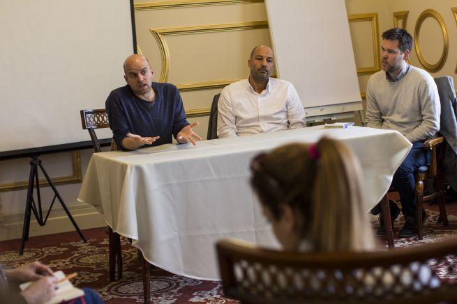 Konferencia: Borgula András (Gólem Színház), Jusztin Ádám (Maccabi VAC), moderátor: Nagygyörgy András (balról jobbra)