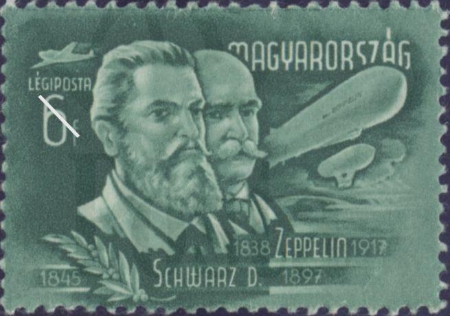 Schwarz és Zeppelin egy 1948-as bélyegen