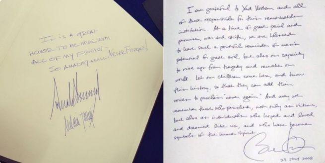 Trump és Obama bejegyzése a Jad Vasem emlékkönyvében