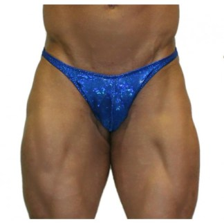 Akieistro® Men's Professional Bodybuilding Posing Suit - Metallic Royal Blue Hologram - Front View
