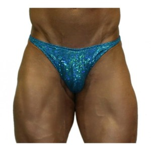 Akieistro® Men's Professional Bodybuilding Posing Suit - Metallic Turquoise Hologram - Front View