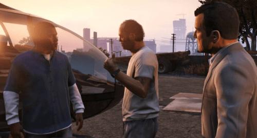 Michael, Franklin y Trevor a punto de hacer cosas malas