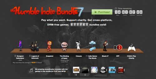 The Binding of Isaac, Indie Game: The Movie, Shank 2... Humble Bundle 7 es All-Star.