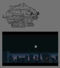 Concepto de dirigible y ciudad