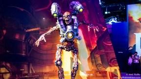 Parte del decorado del stand de Doom en el E3 2015.
