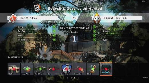 Cada mapa y modo de juego se repite el proceso de baneos, protecciones y elección de especialista.