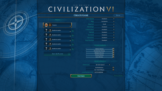 Civilization VI Custom Game
