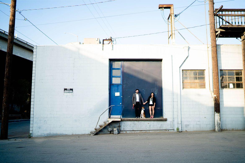 garage engagement photo