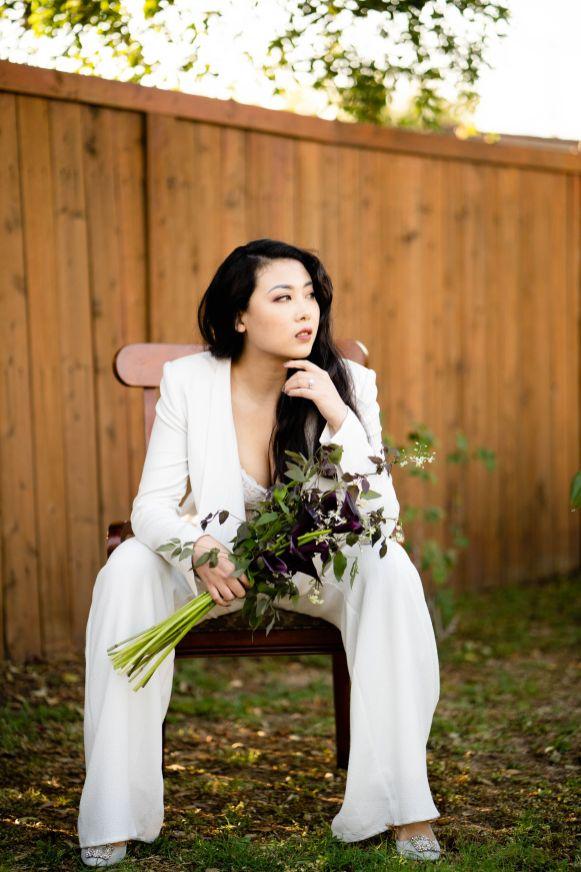 white suit bride