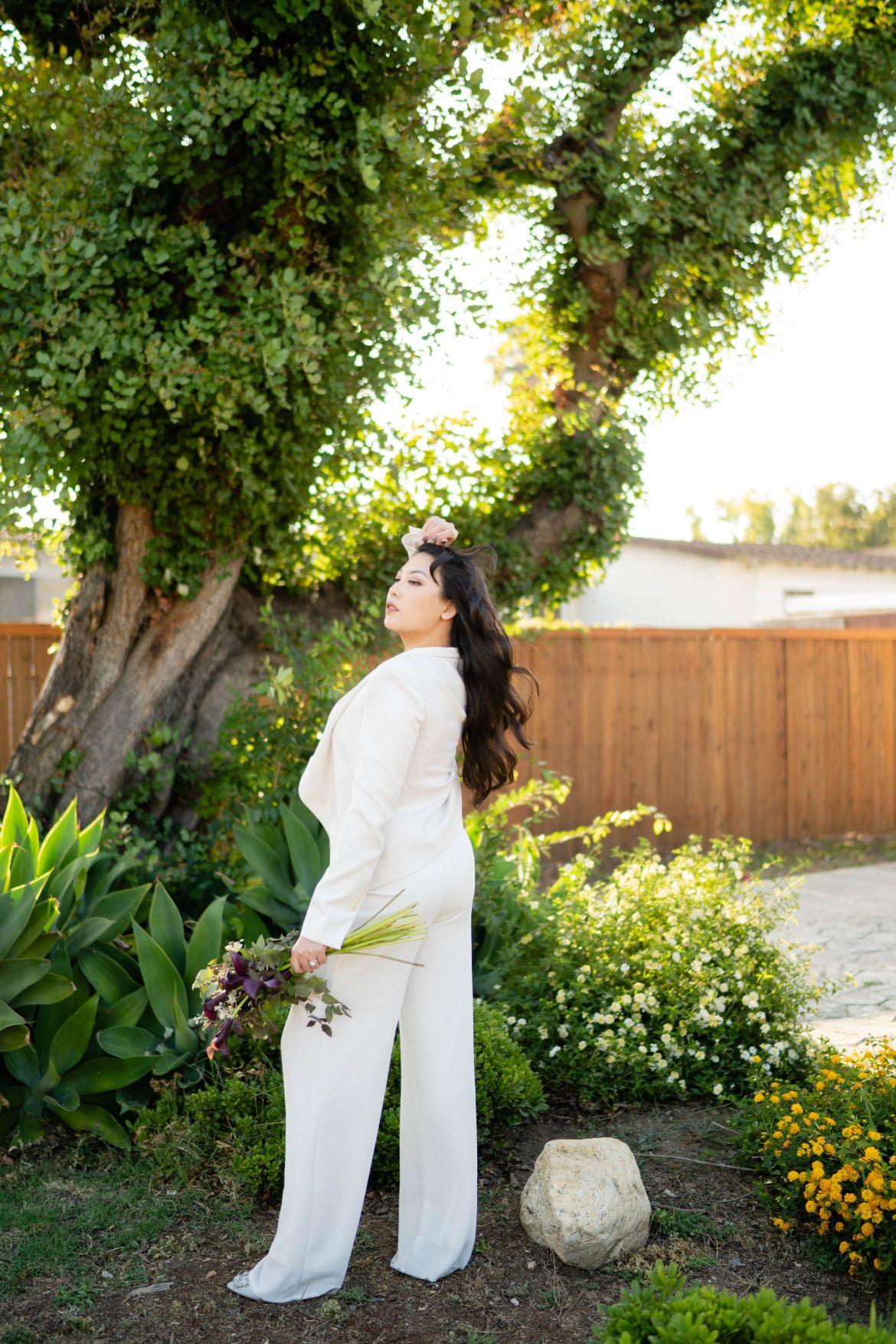 white suite bride